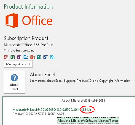 excel 2016 32 bit out of memory