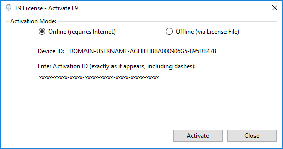 Activate/Deactivate F9 Product
